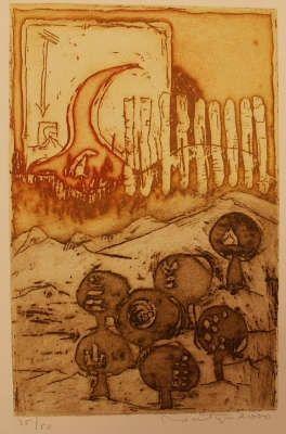 Jan Montyn, etching: Vuren in de morgen