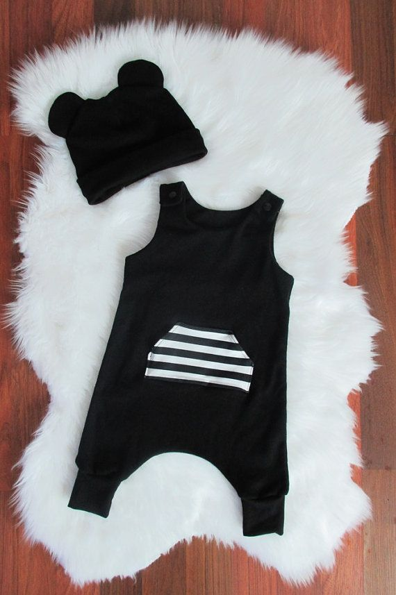 Black harem romper and beanie by MustachesAndBows on Etsy