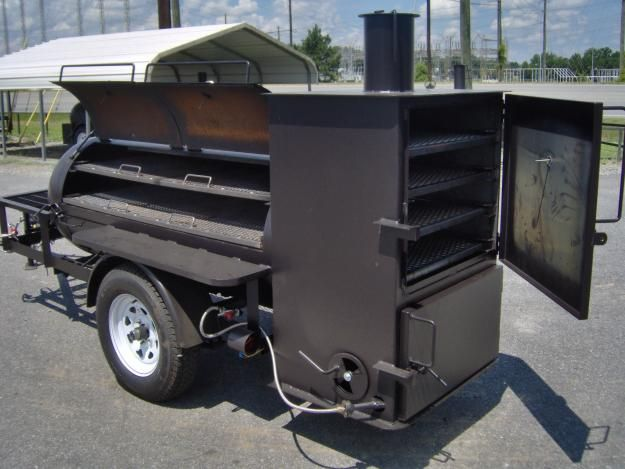 Pictures of  BBQ PIT SMOKER rib box on trailer w gas starter GRILL NEW Concession grill