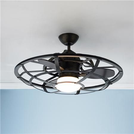 "Laundry room light fixture | 26"" Industrial Cage Ceiling Fan 