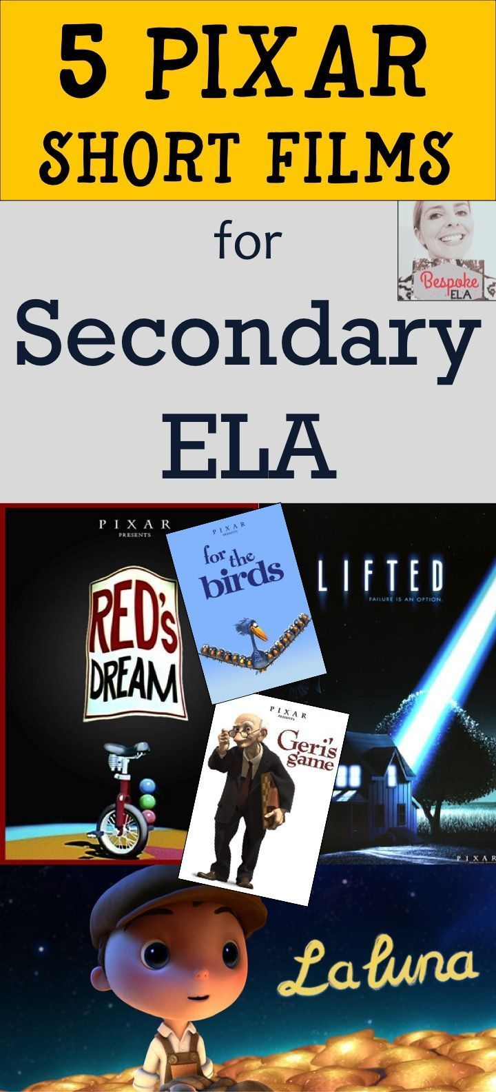In this blog post by Bespoke ELA, you will find 5 Pixar short films to use for teaching skills in secondary English Language Arts in grades 6-12.  Students will use the short films as a means of discussing theme, irony, suspense, subtext, point of view, and more.  Great for middle school and high school English Language Arts.  By Bespoke ELA