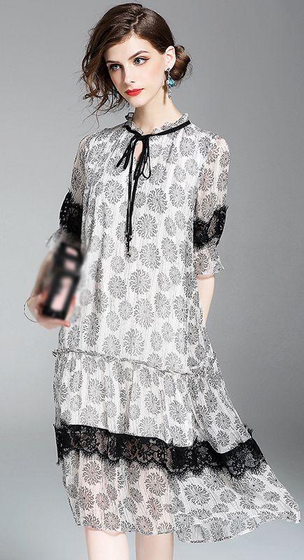 Elegant O-Neck Floral Print Silk Dress