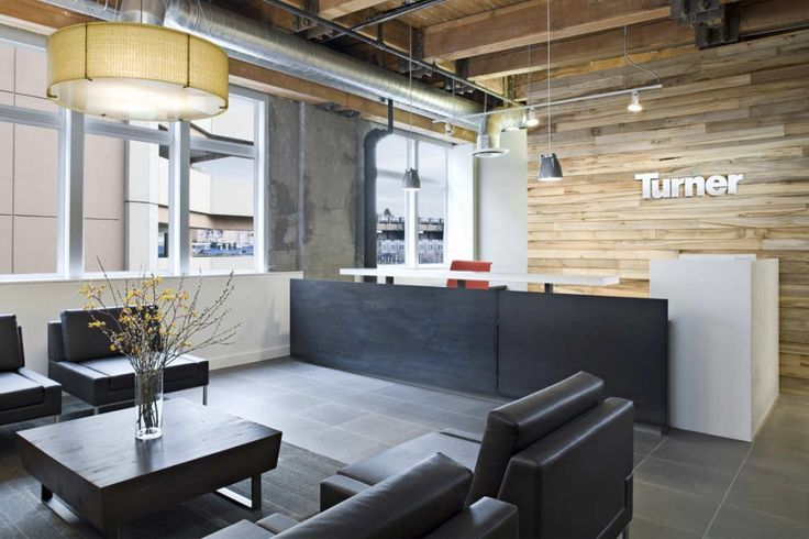 office reception. like: the timber cladding behind desk, metal lettering, exposed timber ceiling, front of counter finish, exposed rendered brick.  modern industrial style.