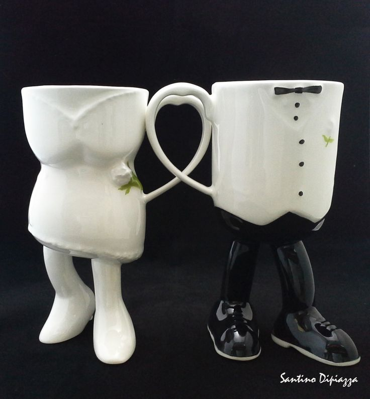 Wedding Gift Mugs - Bride and Groom Mugs - Best Man Gift - Bridesmaids Gifts - Cake Toppers - Wedding Day Gifts - Gifts for Wedding Couple by WalkingPottery on Etsy