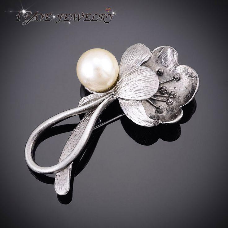 IYOE Simulated Pearl Brooches Vintage Jewelry Black Gun Plated Vintage Metal Flower Brooch Pins Women Scarf Dress Accessories
