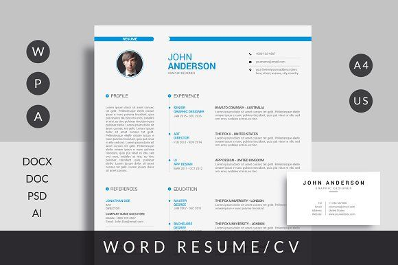 Resume Template with Free Card by Mr-Template on @creativemarket