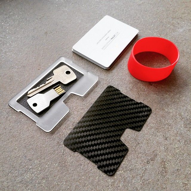 card holder, elephantwallet, insert key, carbon fiber