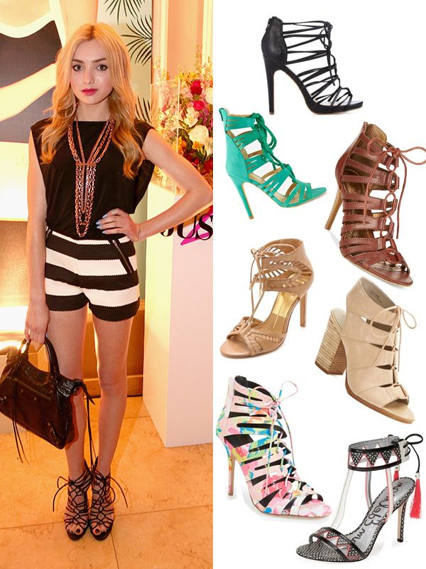 Lace up heels are our latest obsession! Have summer sandals ever looked so sexy? These shoes can easily dress up a pair of boyfriend jeans and would look just as good with a mini dress or a midi skirt -- it's one of our favorite fashion trends! Styling tips 101: Peyton List rocked them with shorts, dressing up her outfit -- and that's a great way to wear them, too.