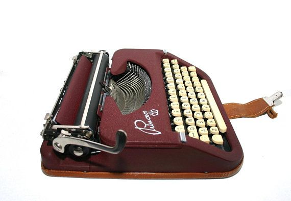 Burgundy Red Princess Portable Typewriter From The Early 50 S 1950 S Qwerty Keyboard New Ribbon Working Typewriter Keller Knappich Working Typewriter