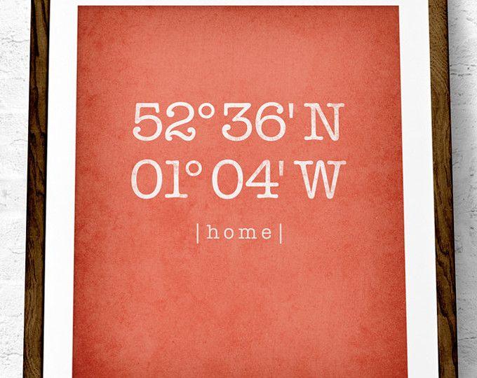 Aangepaste coördinaten afdrukken. Latitude en Longitude print koraal muur kunst huis opwarming van de aarde cadeau gepersonaliseerde thuislocatie print coördinaten poster