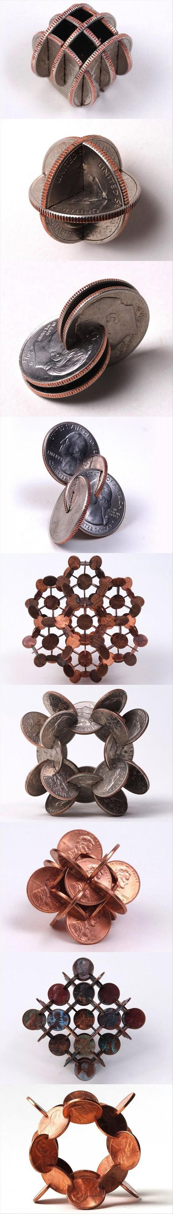 Repetition & Rhythm: The sets of coins are joined and arranged differently from set to set. The...