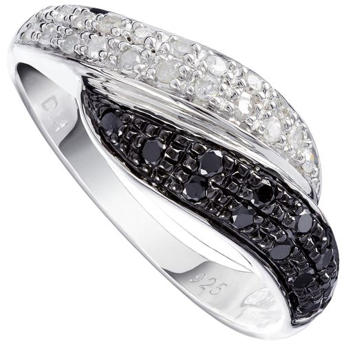 Sterling Silver White  Black Diamond Curves Ring only $130 - purejewels.com.au