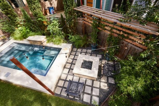 Check Out This Intimate Backyard With Plunge Pool And Fire Pit On Hgtv Com Pools For Small Yards Backyard Swimming Pools Backyard