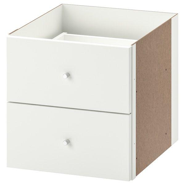 Kallax Bloc 2 Tiroirs Brillant Blanc 33x33 Cm Ikea Rayonnage Mural Kallax Meuble Cube