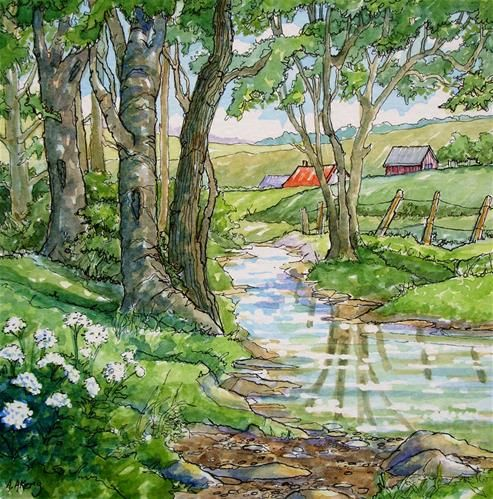 Clear Water Welcome Storybook Cottage Series - Original Fine Art for Sale - © Alida Akers