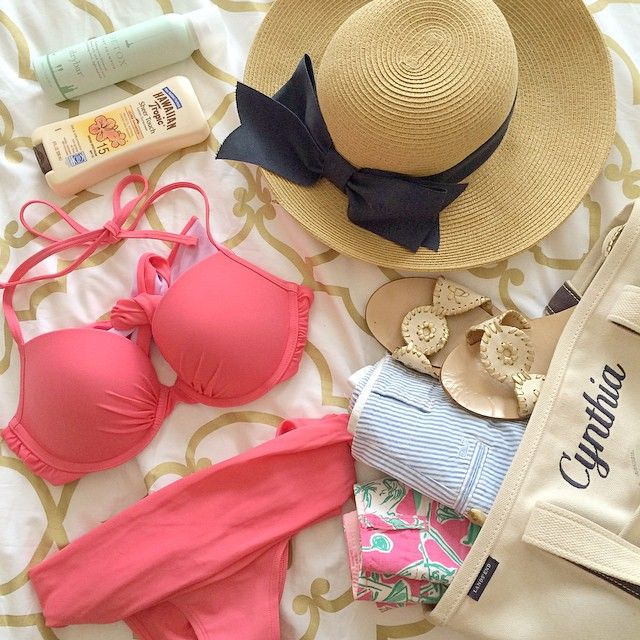 bikinis, lilly pulitzer, vineyard vines, jack rogers and a sunhat. Spring Break ready!