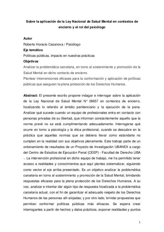 Sobre la aplicación de la Ley Nacional de Salud Mental en contextos de encierro y el rol del psicólogo by Web Master Bicentenario via slideshare
