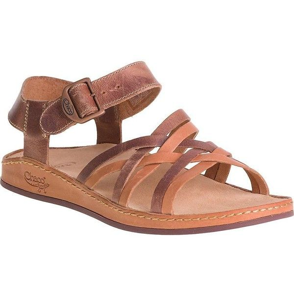 Chaco Women's Fallon Sandal ($120) ❤ liked on Polyvore featuring shoes, sandals, toasted brown, brown leather sandals, real leather shoes, leather sandals, chaco footwear and leather footwear