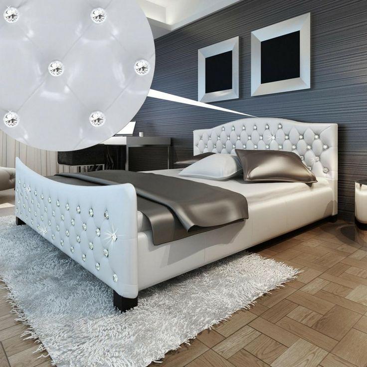 Lit en cuir synthétique en revêtement faux diamant 180 x 200 en cuir blanc avec matelas
