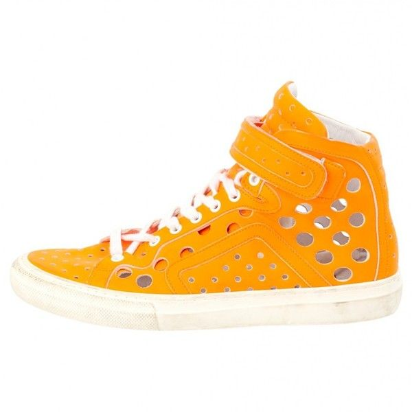 Pre-owned Pierre Hardy Sneakers ($113) ❤ liked on Polyvore featuring shoes, sneakers, orange, women shoes trainers, pierre hardy sneakers, pre owned shoes, orange sneakers, orange shoes and pierre hardy shoes