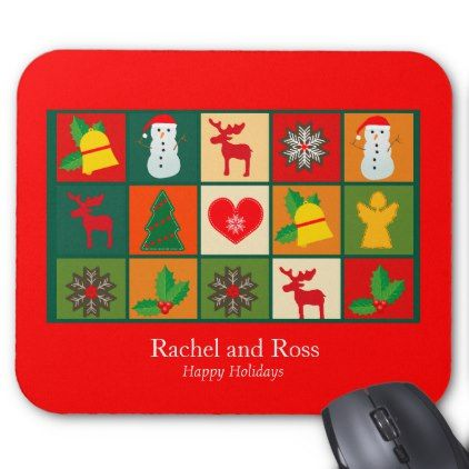 Festive Fun Cartoon Red Photo Frame Personalize Mouse Pad - red gifts color style cyo diy personalize unique