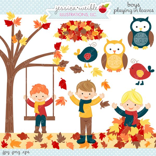 Boys Playing in Leaves Clipart - great for web graphics, scrapbooking, educational use and more.  Pairs with Boys Playing in Leaves Version 2