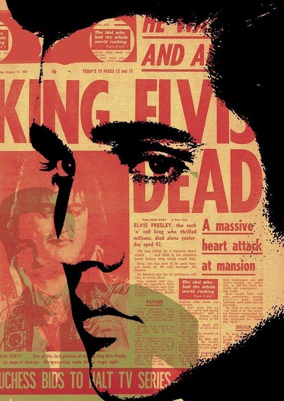 Print Elvis Presley illustration portrait Pop music  Birthday Gift art decor canvas King of Rock N Roll Music Wall Decor giclee