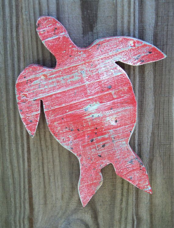 Rustic Beach Decor Wooden Sea Turtles