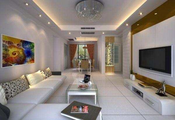 Wandfarben Ideen Indirektes-Lichtleiste-Wohnzimmer Design