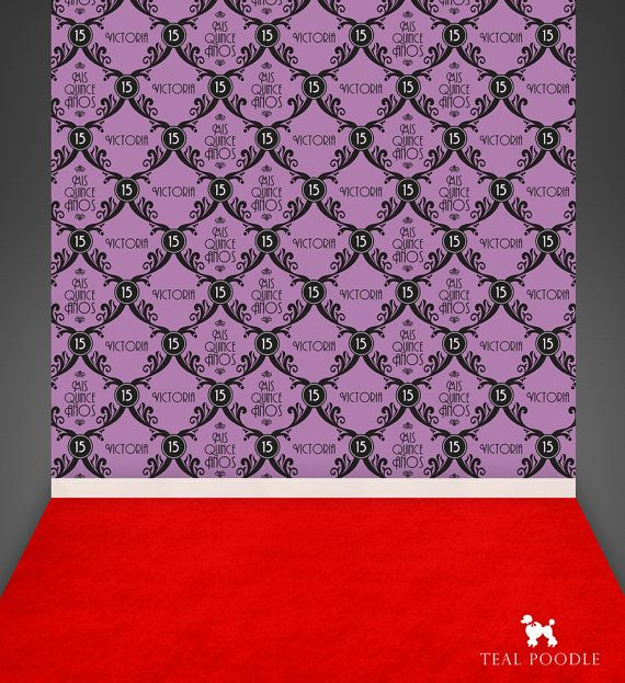 Radiant Orchid Quince Años Red Carpet Backdrop by TealPoodle