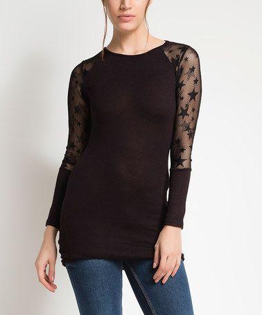 Look at this #zulilyfind! Black Lace-Sleeve Top #zulilyfinds