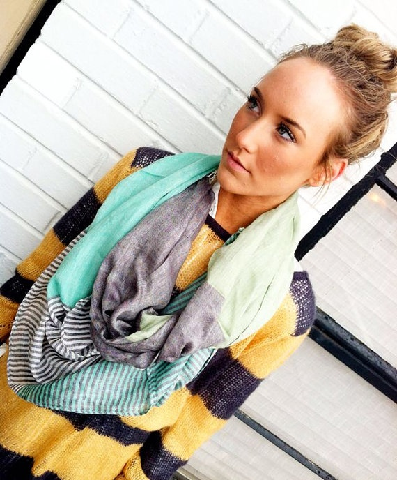 Love is all I have for this scarf. Aqua Mint | Stripes | Color Block