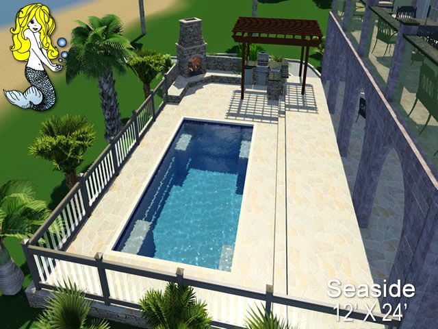 Seaside 12 X 24 Rectangle Fiberglass Pool Swimming Pool Featuring Spacious Swim Corridor Built In Lounger Pool Fiberglass Swimming Pools Swimming Pools