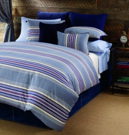 Tommy hilfiger sun valley stripe comforter set for Kitchen queen set