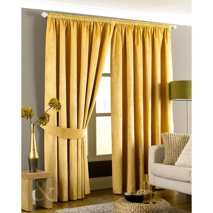 Velvet Pencil Pleat Curtains Ready Made Lined Yellow