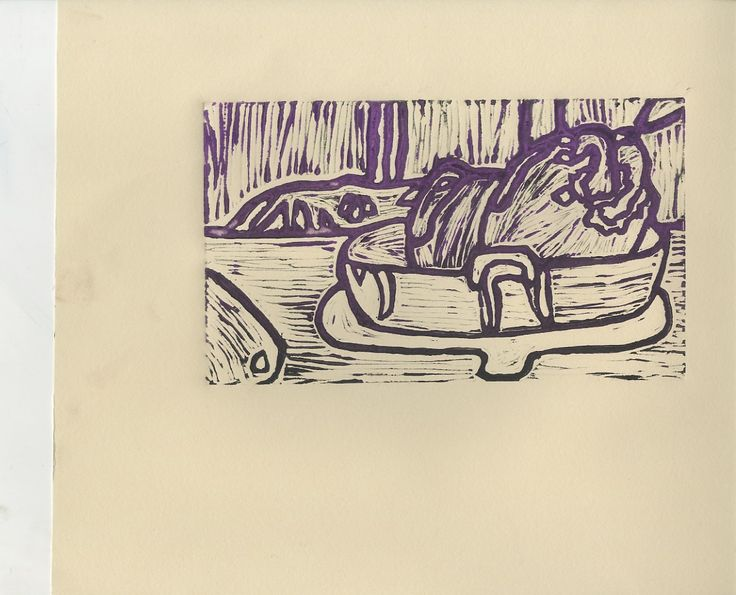 Lino with purple fading into black colour