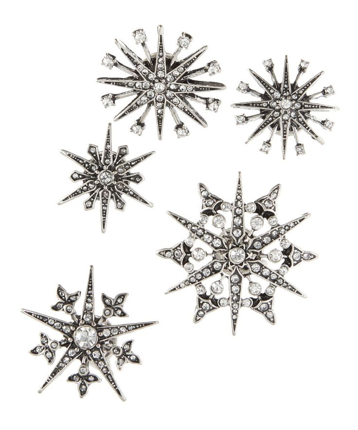 Take a look at this Rhinestone & Silvertone Star Brooch - Set of Five today!