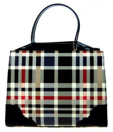 Luxusní černá lakovaná kabelka do ruky F488A Tom&Eva - Kliknutím zobrazíte detail obrázku.