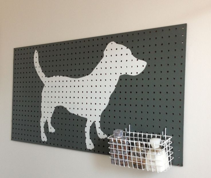 pegboard project #2: used scrap to create bathroom storage/decor. silhouette is my pup, clooney. :). December 2012. #DIY