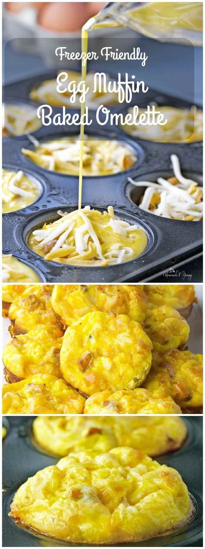 Freezer Friendly Egg Muffin Baked Omelette is great for breakfast, brunch or dinner. An easy way to feed a crowd. Freezer friendly means less work on busy days. | http://homemadeandyummy.com