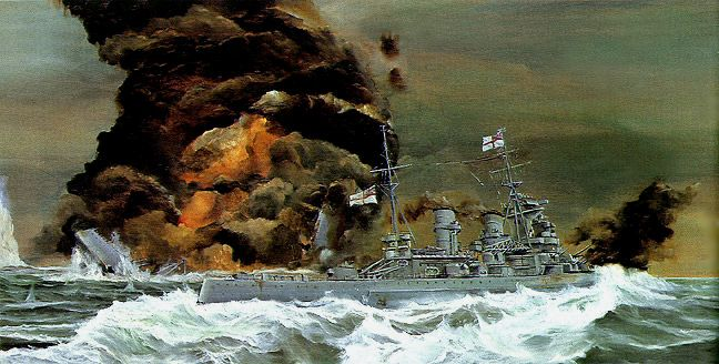 HMS Hood sinking after engaging the Bismark; HMS Prince of Wales in foreground.