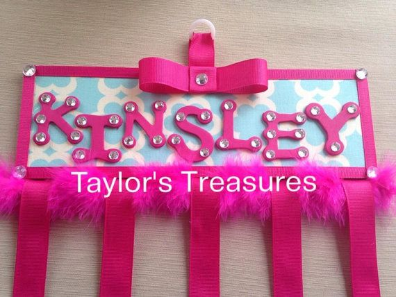 Taylors Treasures - Kumari Garden Personalized Hair Bow Holder - Nursery Letters - Can match any decor