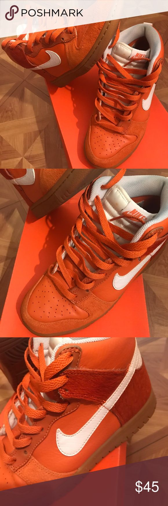 Nike Dunk Highs Orange Nike Dunk Highs Orange & White. Used but in good condition. No Trades 🛑I ship only the Sneakers. I do not ship the box🛑 Size 5.5 in boys. Nike Shoes Sneakers