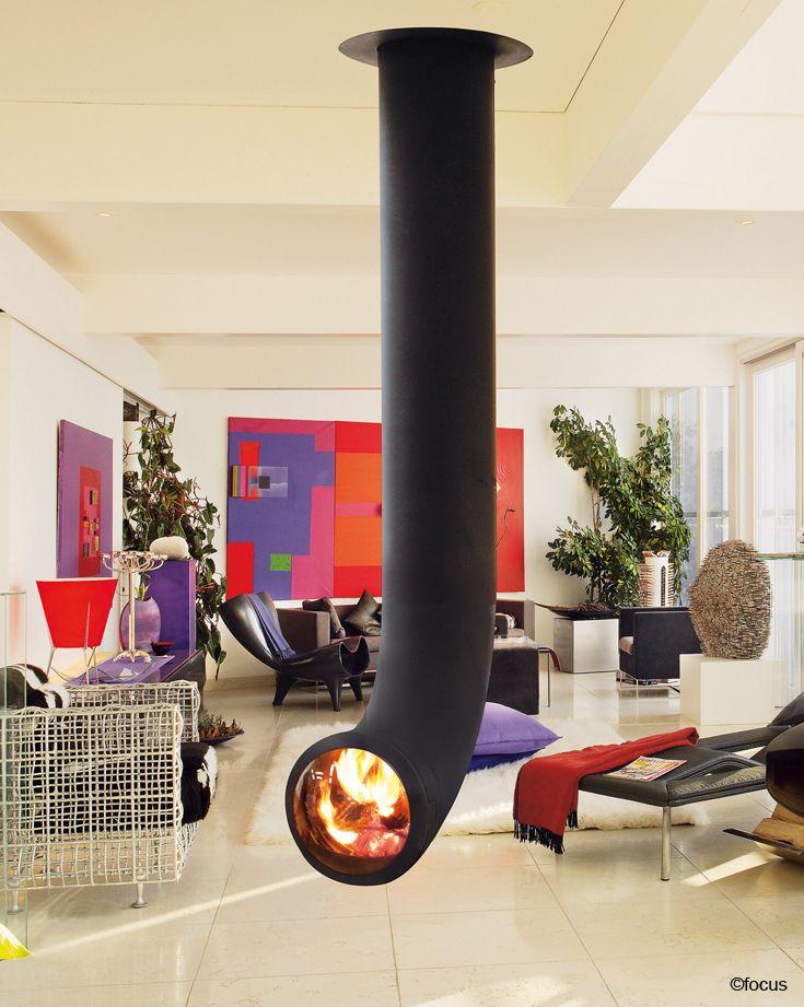 #cheminee renzofocus  foyer suspendu central pivotant, fermé à hublot #design contemporain