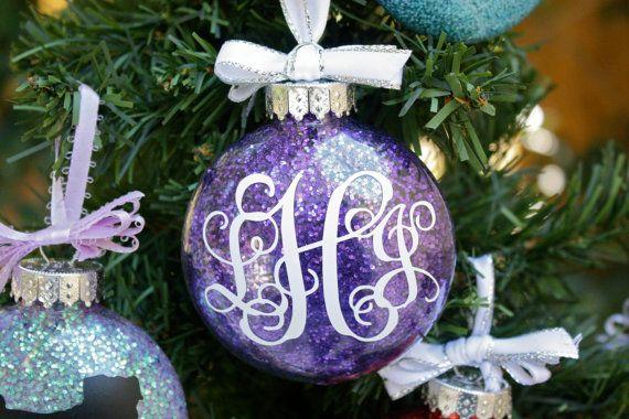 Monogrammed Glitter Christmas Ornament