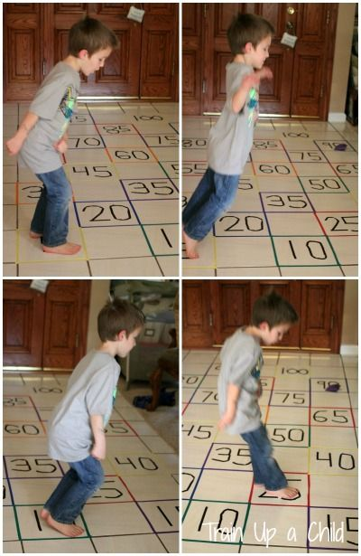 Gross Motor Activity to Practice Skip Counting - Combining learning with movement helps children retain what they learn and establish a love of learning.  This could easily be adapted for any age or mathematical concept.  It would also be fun to learn letter sounds while hopping to them!