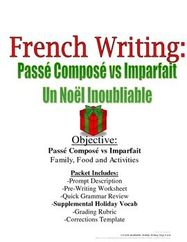 christmas writing for french passe compose and imparfait rubric included writing worksheets. Black Bedroom Furniture Sets. Home Design Ideas