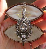 Antique Georgian Articulated Drop Silver & Paste Pendant