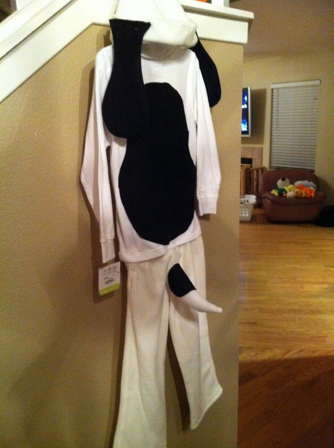 So it was the last year to MAKE my child dress the way I want for Halloween. So we made a Snoopy Costume!