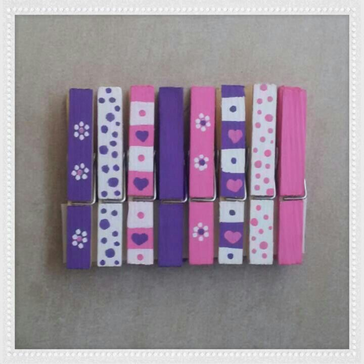 Hand painted Clothespins. Pegs.